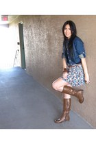brown faux leather Breckelles boots - navy cropped Highway Jeans jacket - floral