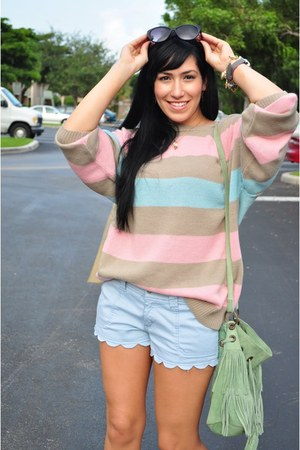light pink pastels sweater - light blue shorts