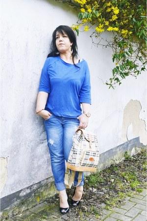 blue Nordstrom jeans - beige Burberry bag - black asos heels