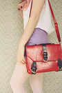 Ruby-red-satchel-wholesale-bag-beige-boater-wholesale-hat