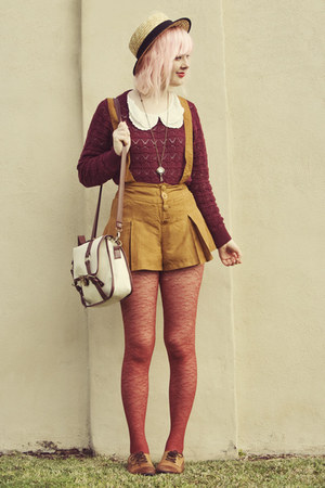 mustard suede suspender OASAP shorts - beige boater wholesale hat