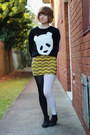 Black-asos-boots-black-panda-face-cichic-sweater-mustard-thrifted-skirt