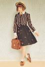 Bronze-striped-bow-choies-blouse-beige-wholesale-hat-brown-vintage-bag