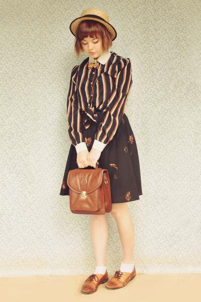 bronze striped bow Choies blouse - beige wholesale hat - brown vintage bag