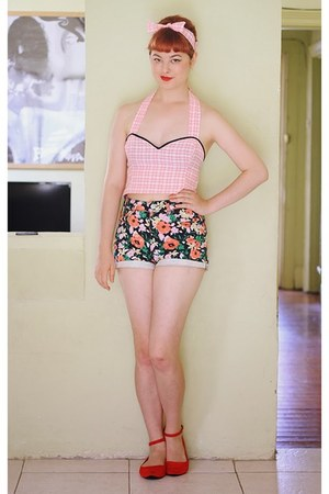 coral thrifted shorts - bubble gum DIY top