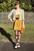 mustard I made it dress - lime green vintage blazer