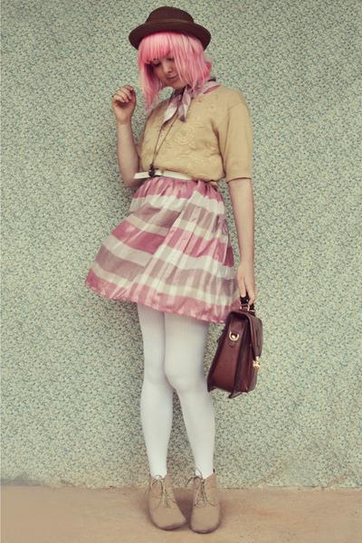 light brown suede Forever 21 boots - pink stripey vintage dress