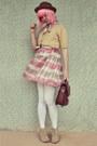 Pink-stripey-vintage-dress-light-brown-suede-forever-21-boots