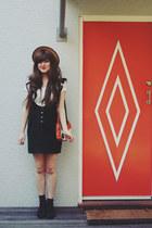 black overall style vintage dress - black asos boots - tawny Ebay bag