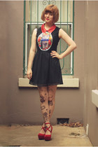 brick red OASAP dress - heather gray Ebay tights - ruby red sammydress pumps