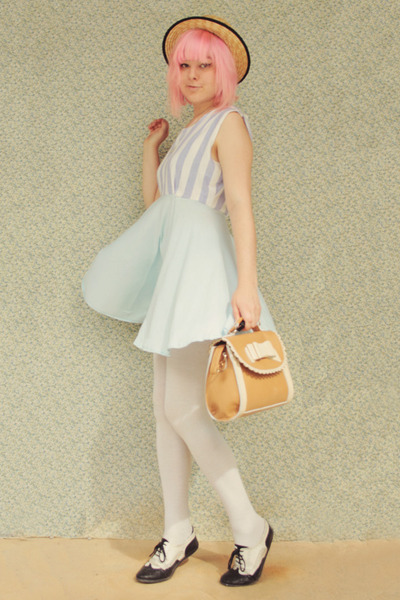 light blue DIY dress - cream straw boater wholesale hat