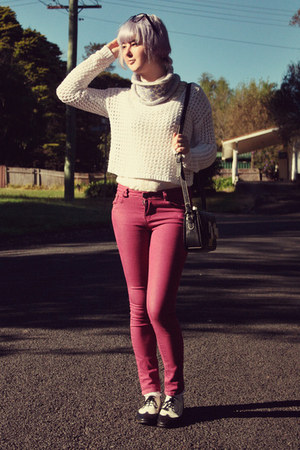 maroon Wholesale-Dress jeans - white crochet Forever 21 sweater