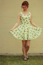 lime green DIY dress - black asos flats