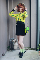 lime green Choies bag - yellow Choies sweater - chartreuse vintage socks