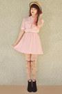 Black-rubi-shoes-boots-light-pink-vintage-dress-beige-boater-wholesale-hat