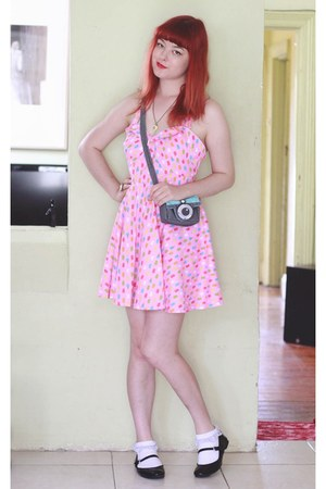 bubble gum icecream print handmade dress - sky blue novelty camera handmade bag
