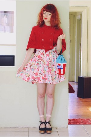 bubble gum DIY dress - sky blue Twinkie Chan bag - ruby red DIY cape