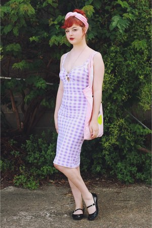 light purple thrifted dress - bubble gum Lazy Oaf bag - black asos flats