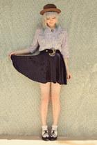 black velvet vintage belt - brown straw bowler Wholesale-Dress hat