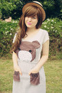 Light-brown-bear-face-diy-dress-beige-wholesale-hat-brown-vintage-bag