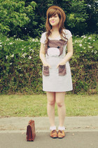 light brown bear face DIY dress - beige wholesale hat - brown vintage bag