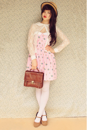 light pink mod dolly dress - beige wholesale hat - white OASAP tights