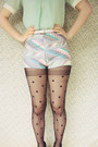 Periwinkle-patterned-diy-shorts-black-suede-lace-up-rubi-shoes-boots