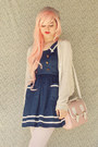 Navy-romwe-dress-heather-gray-cotton-on-hat-white-oasap-tights