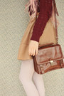 Dark-brown-satchel-vintage-bag-maroon-patterned-no-name-sweater