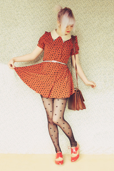 red oxford style asos loafers - carrot orange Baking Soda dress