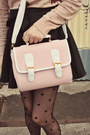 Cream-umbrella-print-wholesale-sweater-light-pink-satchel-wholesale-bag