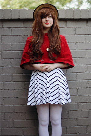 ruby red cape DIY coat - black stripey cichic dress - white OASAP tights