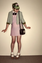 light pink vintage dress - lime green vintage blazer - black OASAP bag