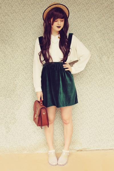dark green DIY skirt - beige wholesale hat - brown vintage bag