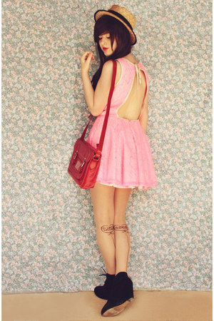 black Rubi shoes boots - bubble gum lace backless Faith & Lola dress