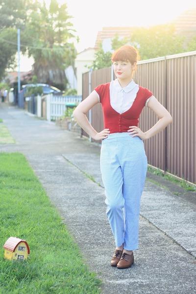 sky blue vintage pants - ivory vintage blouse - red vintage cardigan