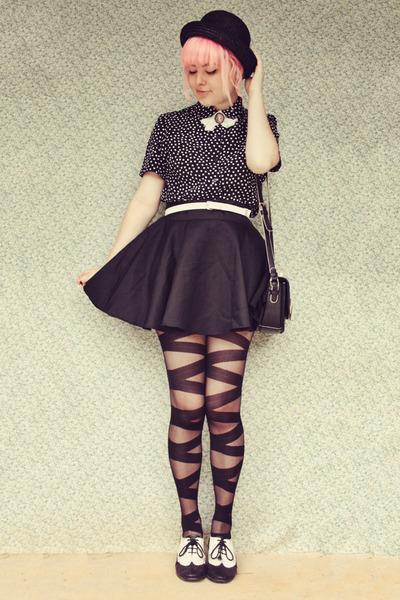 black lace up effect wholesale tights - black OASAP bag