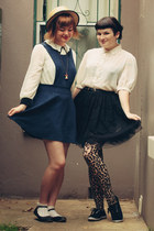 navy AX Paris dress - black vintage skirt - white vintage blouse