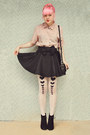 Black-suede-rubi-shoes-boots-white-diy-tights