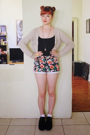 carrot orange floral thrifted shorts - beige thrifted cardigan