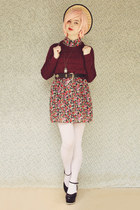 maroon no brand sweater - black Label Shoes shoes