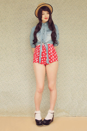 navy OASAP blouse - black Label Shoes shoes - ruby red asos shorts