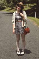 brown Wholesale-Dress hat - black Yesstyle shoes - navy vintage & DIY dress