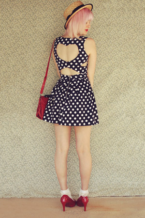 beige boater wholesale hat - navy Paper Scissors dress