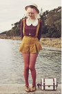 Mustard-suede-suspender-oasap-shorts-beige-boater-wholesale-hat