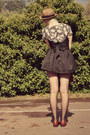 Black-diy-stockings-brown-straw-bowler-wholesale-dress-hat