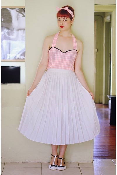 bubble gum halter-style DIY top - white thrifted skirt
