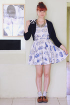sky blue DIY dress - navy handmade cardigan