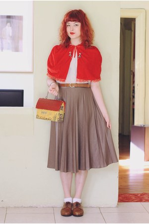 red velvet and lace thrifted cape - brown NAOT shoes