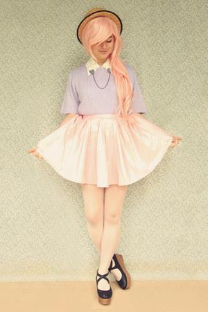 light purple vintage sweater - black Chicory shoes - beige wholesale hat